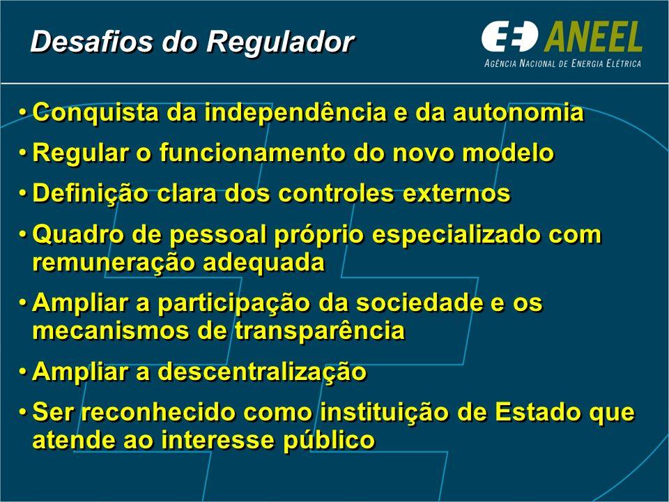 Conquista da independência e da autonomia Regular o funcionamento do novo modelo Definição clara dos controles externos Quadro de pessoal próprio espe