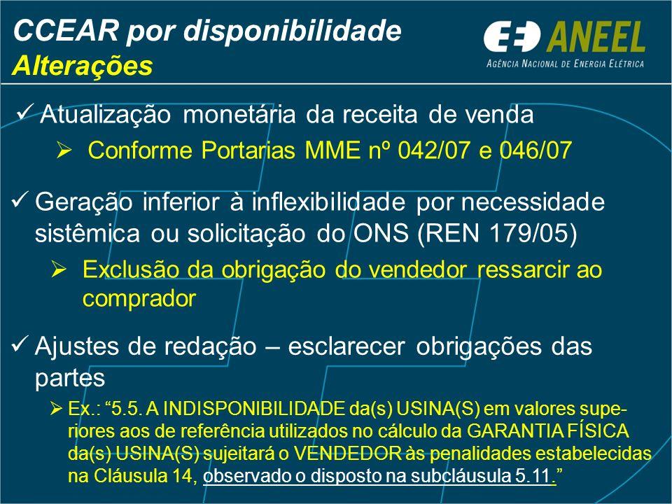 Atualização monetária da receita de venda Conforme Portarias MME nº 042/07 e 046/07 CCEAR por disponibilidade Alterações Geração inferior à inflexibil