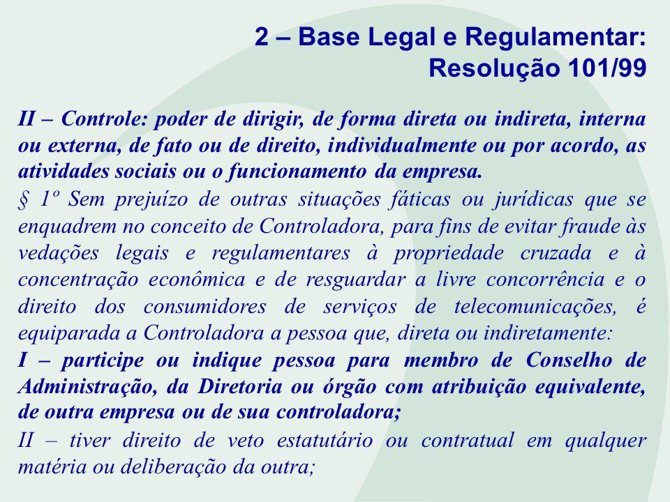 2 – Base Legal e Regulamentar: Resolução 101/99 II – Controle: poder de dirigir, de forma direta ou indireta, interna ou externa, de fato ou de direit
