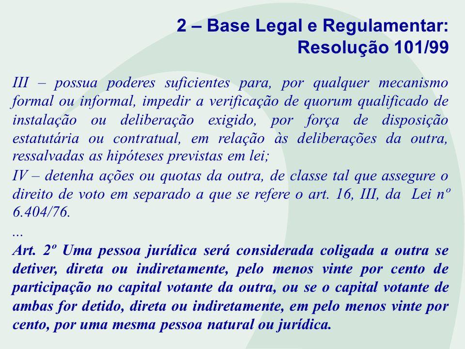 2 – Base Legal e Regulamentar: Resolução 101/99 III – possua poderes suficientes para, por qualquer mecanismo formal ou informal, impedir a verificaçã