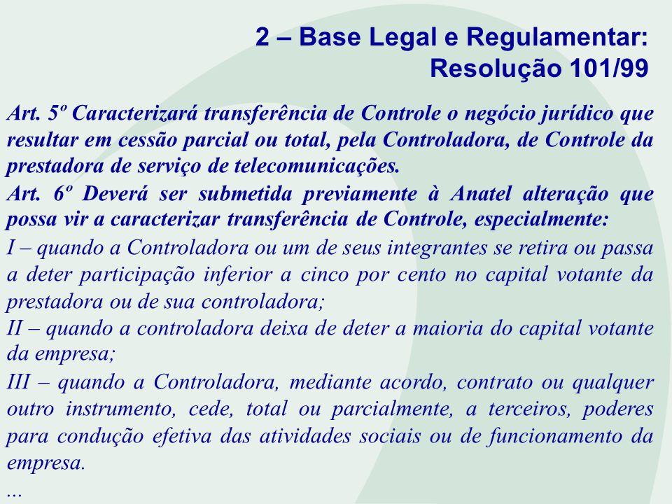 2 – Base Legal e Regulamentar: Resolução 101/99 Art. 5º Caracterizará transferência de Controle o negócio jurídico que resultar em cessão parcial ou t