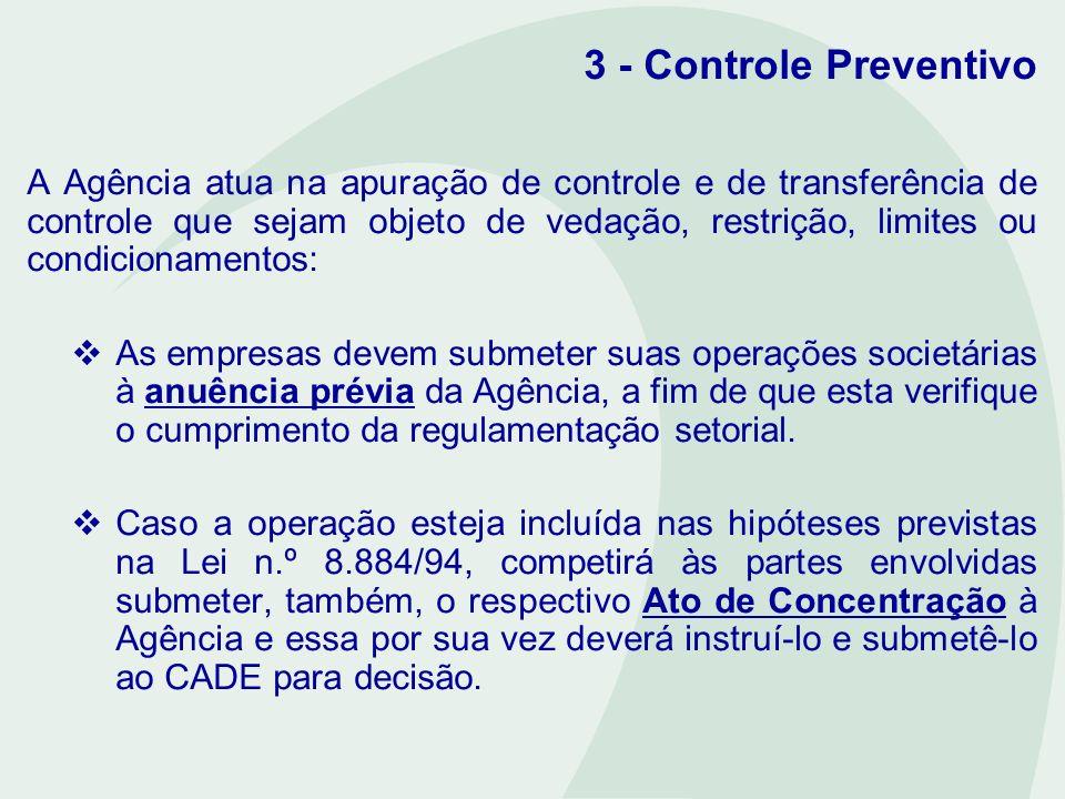3 - Controle Preventivo A Agência atua na apuração de controle e de transferência de controle que sejam objeto de vedação, restrição, limites ou condi