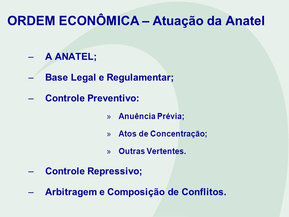 ORDEM ECONÔMICA – Atuação da Anatel –A ANATEL; –Base Legal e Regulamentar; –Controle Preventivo: »Anuência Prévia; »Atos de Concentração; »Outras Vert