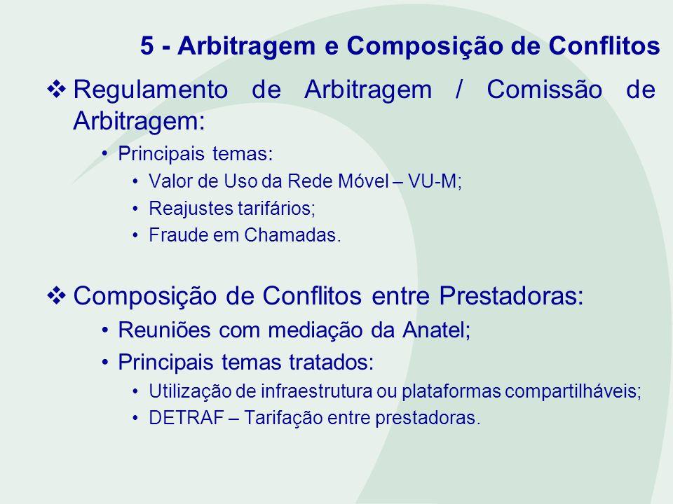 5 - Arbitragem e Composição de Conflitos Regulamento de Arbitragem / Comissão de Arbitragem: Principais temas: Valor de Uso da Rede Móvel – VU-M; Reaj