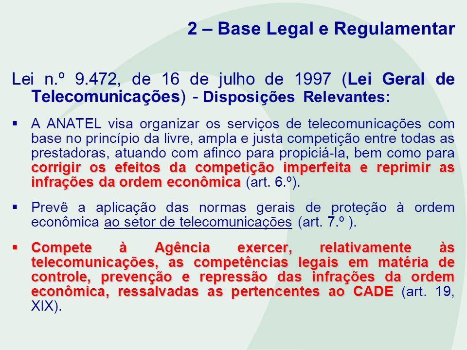 2 – Base Legal e Regulamentar Lei n.º 9.472, de 16 de julho de 1997 - LGT; Lei n.º 8.078, de 11 de setembro de 1990 – CDC; Lei n.º 8.884, de 11 de junho de 1994 - LDC.
