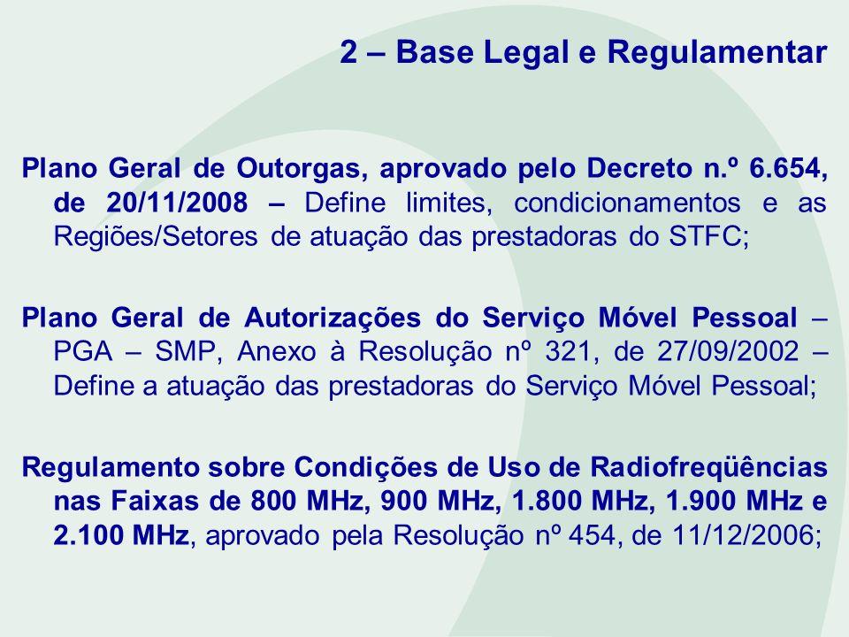 2 – Base Legal e Regulamentar Plano Geral de Outorgas, aprovado pelo Decreto n.º 6.654, de 20/11/2008 – Define limites, condicionamentos e as Regiões/