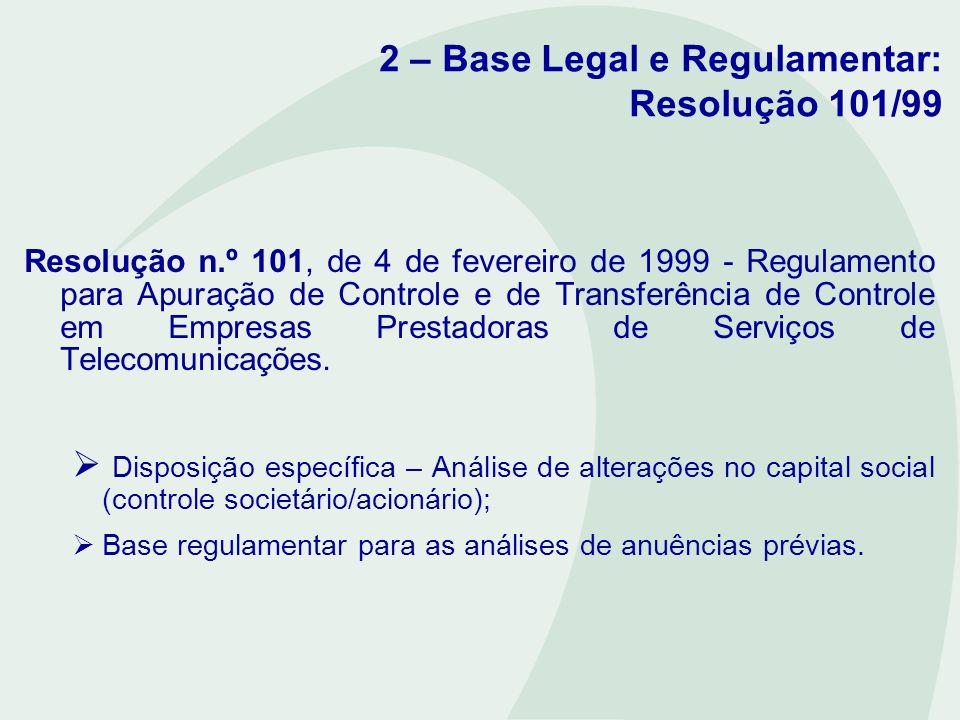 2 – Base Legal e Regulamentar: Resolução 101/99 Regulamento para Apuração de Controle e de Transferência de Controle em Empresas Prestadoras de Serviços de Telecomunicações, aprovado pela Resolução n.º 101 - ANATEL, de 4 de fevereiro de 1999: Art.