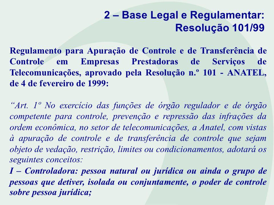 2 – Base Legal e Regulamentar: Resolução 101/99 II – Controle: poder de dirigir, de forma direta ou indireta, interna ou externa, de fato ou de direito, individualmente ou por acordo, as atividades sociais ou o funcionamento da empresa.