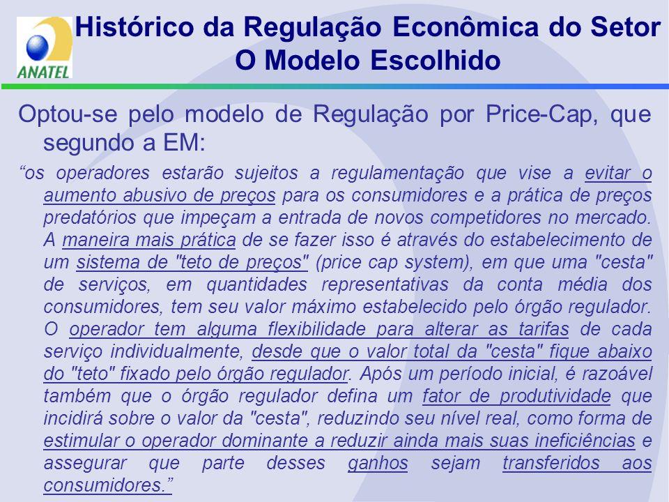 Histórico da Regulação Econômica do Setor O Modelo Escolhido Optou-se pelo modelo de Regulação por Price-Cap, que segundo a EM: os operadores estarão