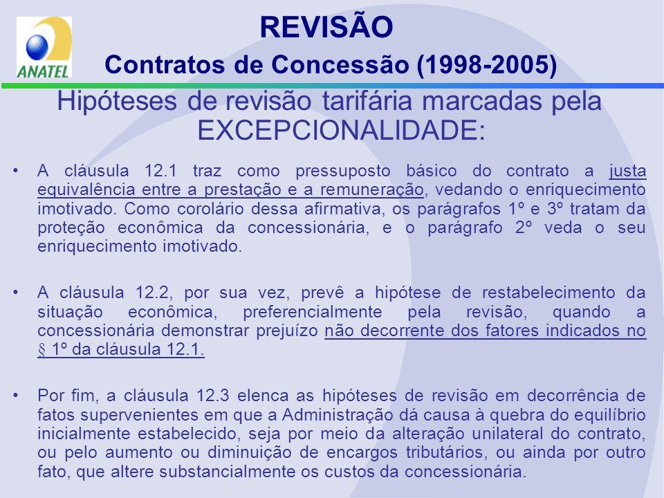 REVISÃO Contratos de Concessão (1998-2005) Hipóteses de revisão tarifária marcadas pela EXCEPCIONALIDADE: A cláusula 12.1 traz como pressuposto básico do contrato a justa equivalência entre a prestação e a remuneração, vedando o enriquecimento imotivado.