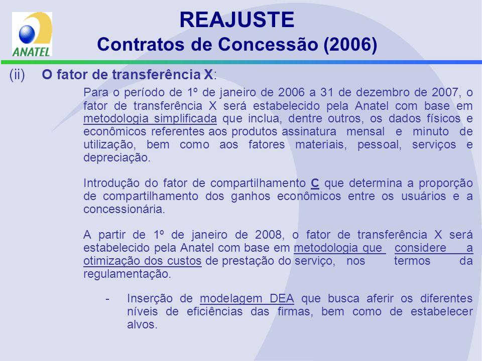 (ii) O fator de transferência X: Para o período de 1º de janeiro de 2006 a 31 de dezembro de 2007, o fator de transferência X será estabelecido pela A