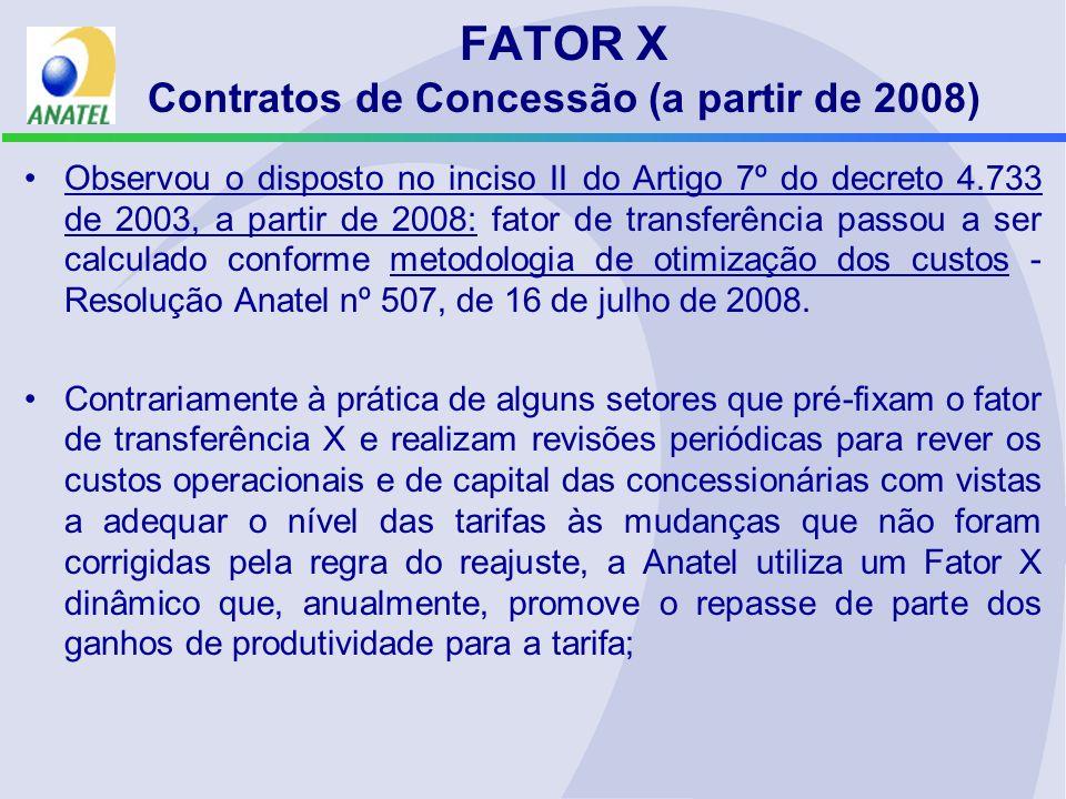FATOR X Contratos de Concessão (a partir de 2008) Observou o disposto no inciso II do Artigo 7º do decreto 4.733 de 2003, a partir de 2008: fator de t