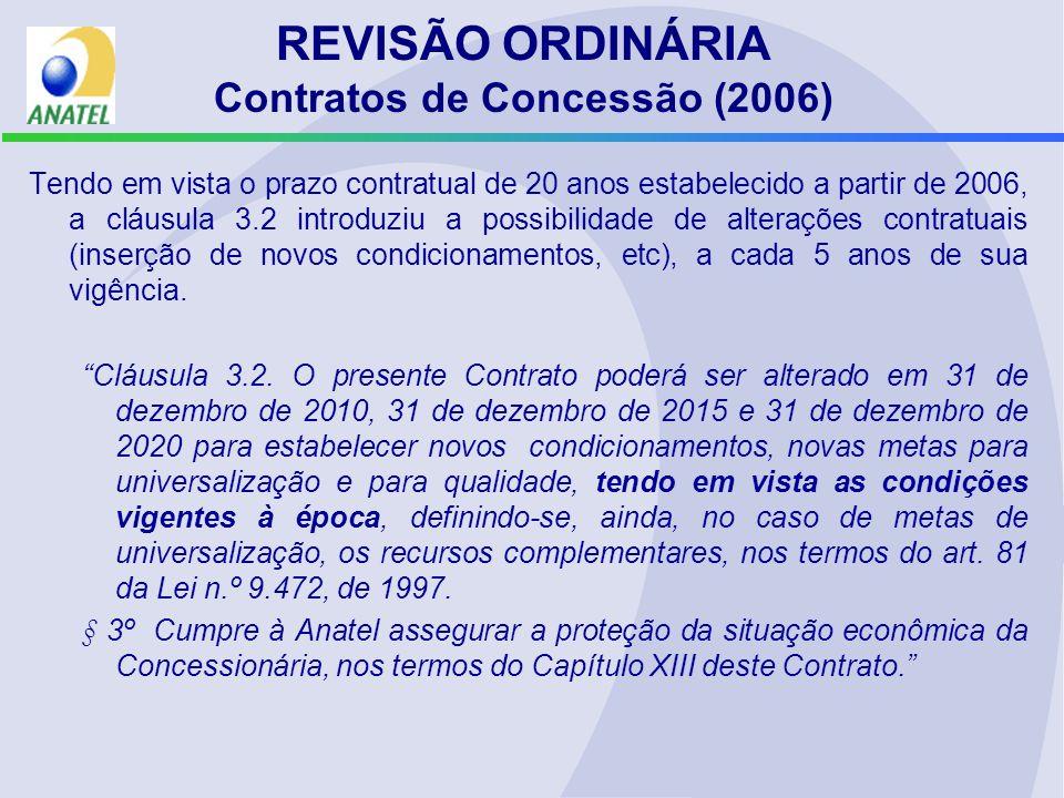 REVISÃO ORDINÁRIA Contratos de Concessão (2006) Tendo em vista o prazo contratual de 20 anos estabelecido a partir de 2006, a cláusula 3.2 introduziu a possibilidade de alterações contratuais (inserção de novos condicionamentos, etc), a cada 5 anos de sua vigência.