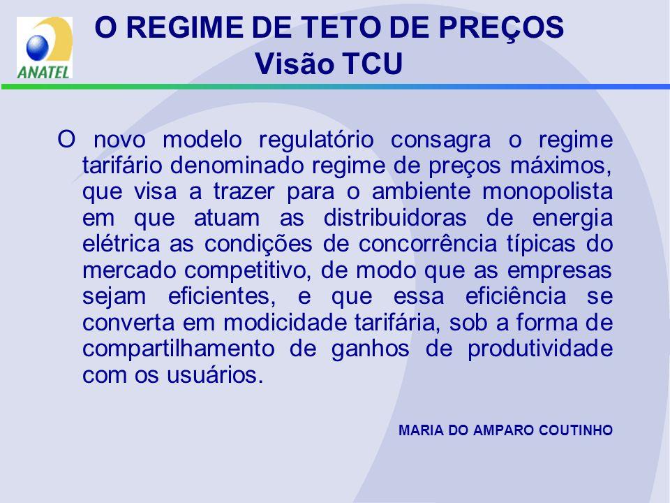 O novo modelo regulatório consagra o regime tarifário denominado regime de preços máximos, que visa a trazer para o ambiente monopolista em que atuam