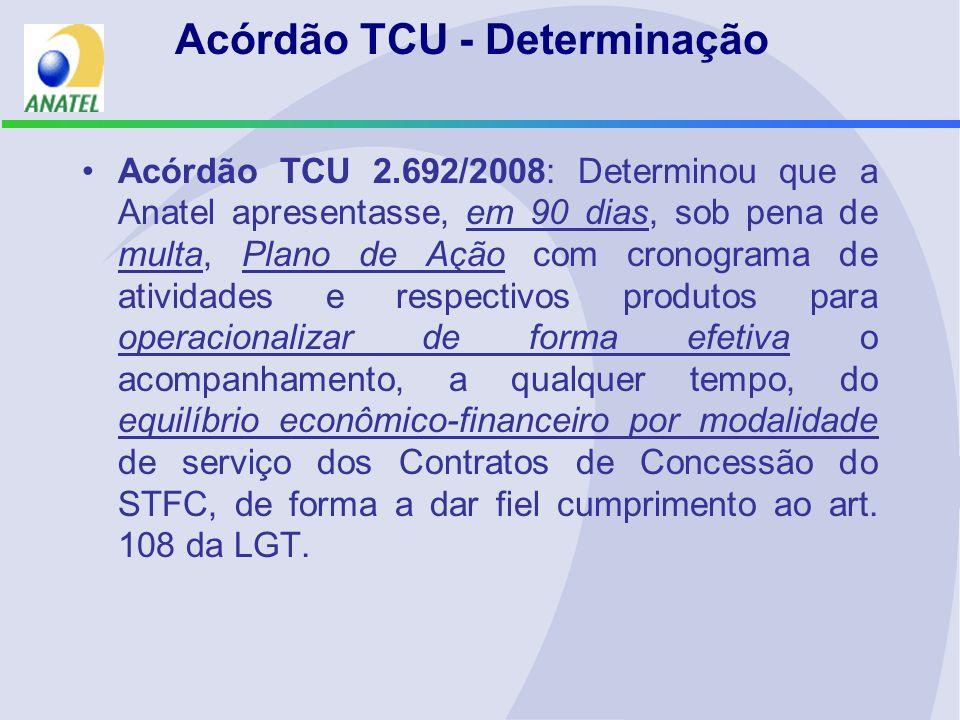 Acórdão TCU - Determinação Acórdão TCU 2.692/2008: Determinou que a Anatel apresentasse, em 90 dias, sob pena de multa, Plano de Ação com cronograma d