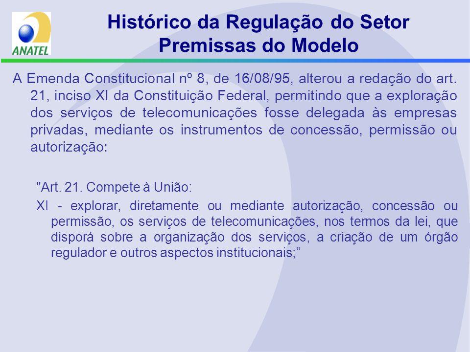 Histórico da Regulação do Setor Premissas do Modelo A Emenda Constitucional nº 8, de 16/08/95, alterou a redação do art. 21, inciso XI da Constituição