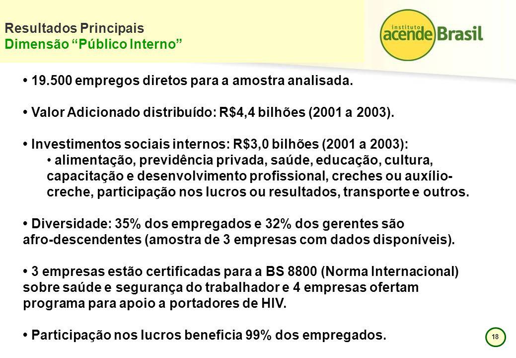 18 Resultados Principais Dimensão Público Interno 19.500 empregos diretos para a amostra analisada. Valor Adicionado distribuído: R$4,4 bilhões (2001