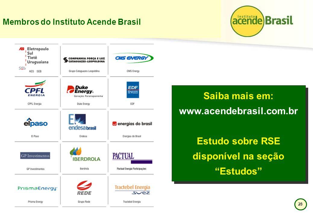 28 Membros do Instituto Acende Brasil Saiba mais em: www.acendebrasil.com.br Estudo sobre RSE disponível na seção Estudos Saiba mais em: www.acendebra