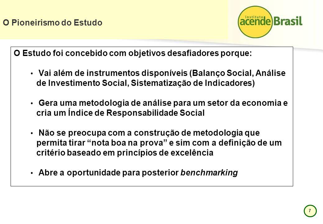 7 O Estudo foi concebido com objetivos desafiadores porque: Vai além de instrumentos disponíveis (Balanço Social, Análise de Investimento Social, Sist
