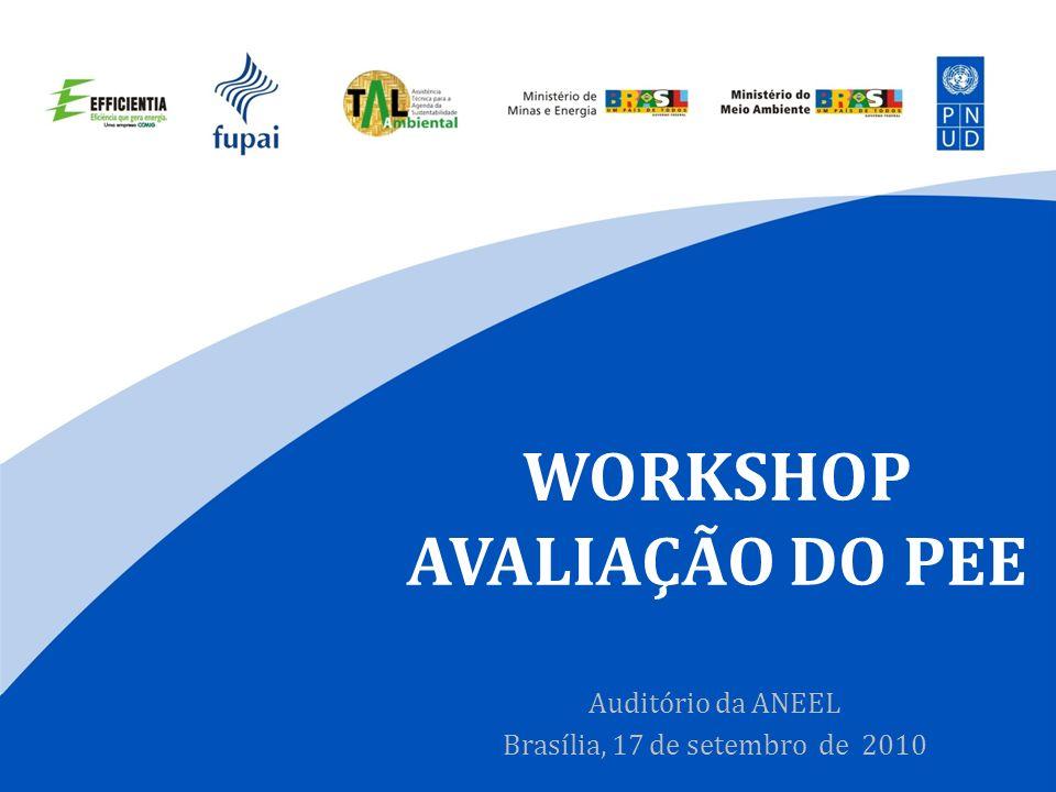 WORKSHOP AVALIAÇÃO DO PEE Auditório da ANEEL Brasília, 17 de setembro de 2010