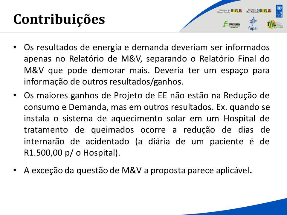 Contribuições Os resultados de energia e demanda deveriam ser informados apenas no Relatório de M&V, separando o Relatório Final do M&V que pode demor