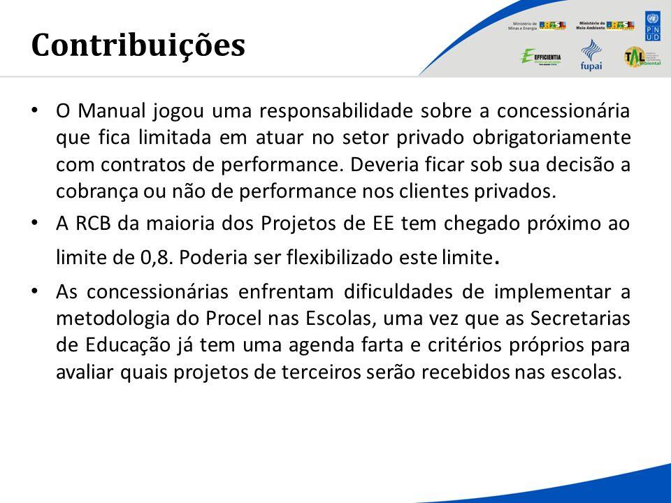 Contribuições O Manual jogou uma responsabilidade sobre a concessionária que fica limitada em atuar no setor privado obrigatoriamente com contratos de