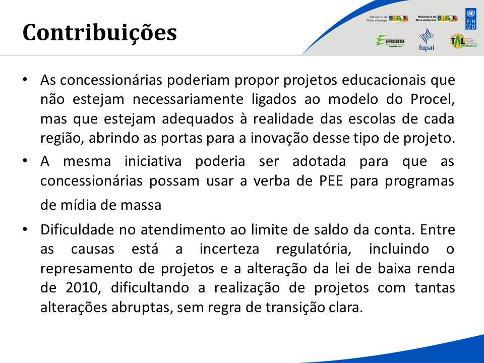 Contribuições As concessionárias poderiam propor projetos educacionais que não estejam necessariamente ligados ao modelo do Procel, mas que estejam ad