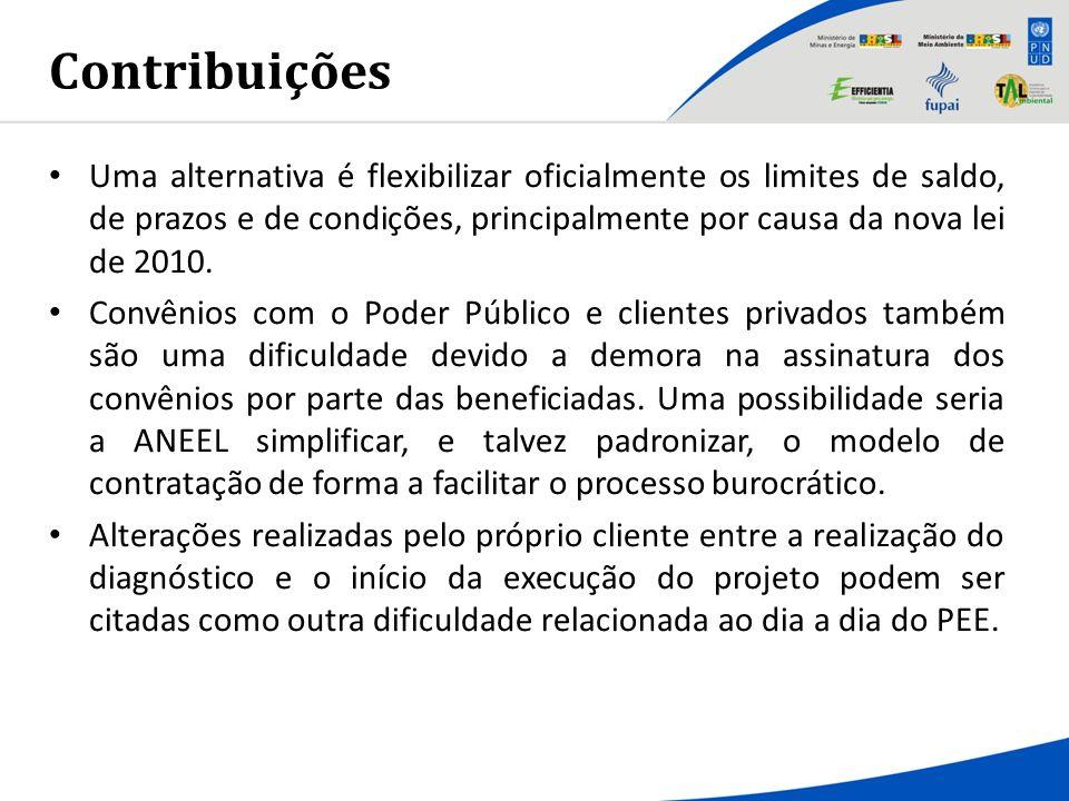 Contribuições Uma alternativa é flexibilizar oficialmente os limites de saldo, de prazos e de condições, principalmente por causa da nova lei de 2010.