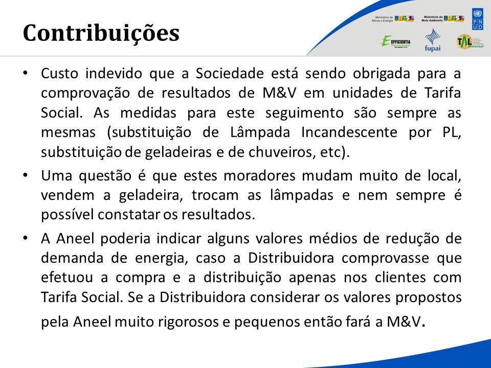 Contribuições Custo indevido que a Sociedade está sendo obrigada para a comprovação de resultados de M&V em unidades de Tarifa Social. As medidas para