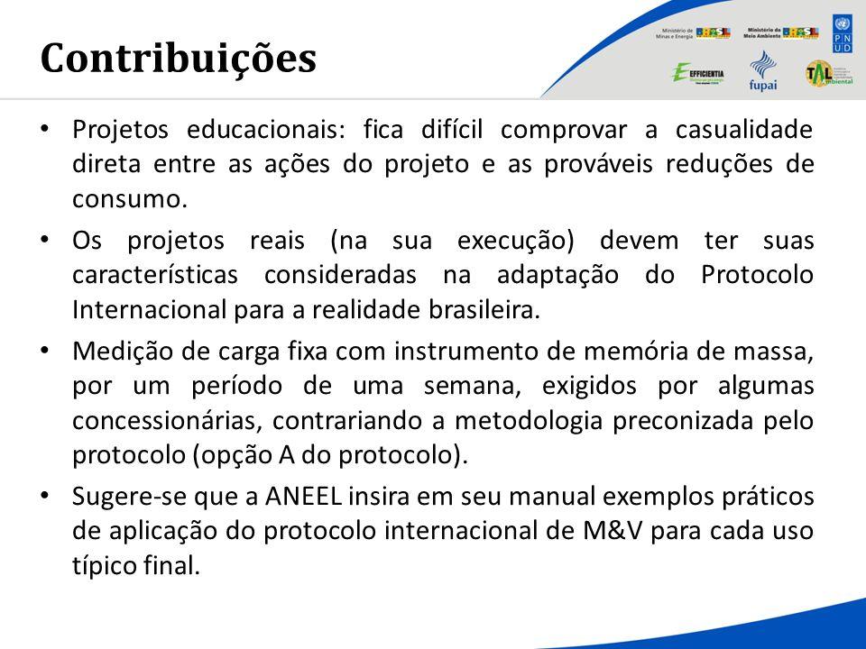 Contribuições Projetos educacionais: fica difícil comprovar a casualidade direta entre as ações do projeto e as prováveis reduções de consumo. Os proj