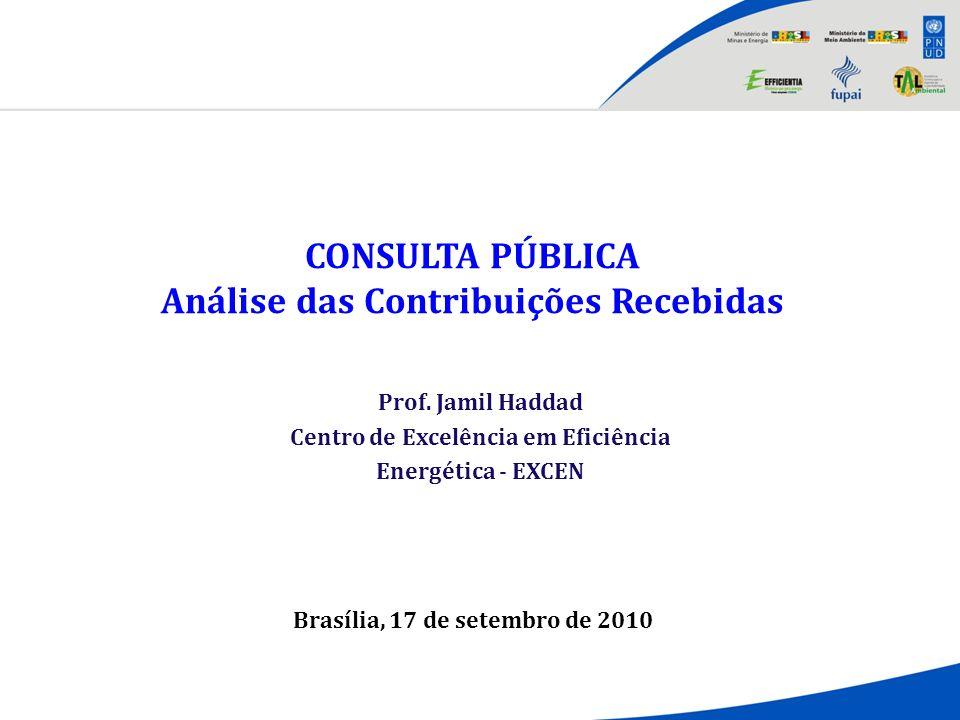CONSULTA PÚBLICA Análise das Contribuições Recebidas Brasília, 17 de setembro de 2010 Prof. Jamil Haddad Centro de Excelência em Eficiência Energética