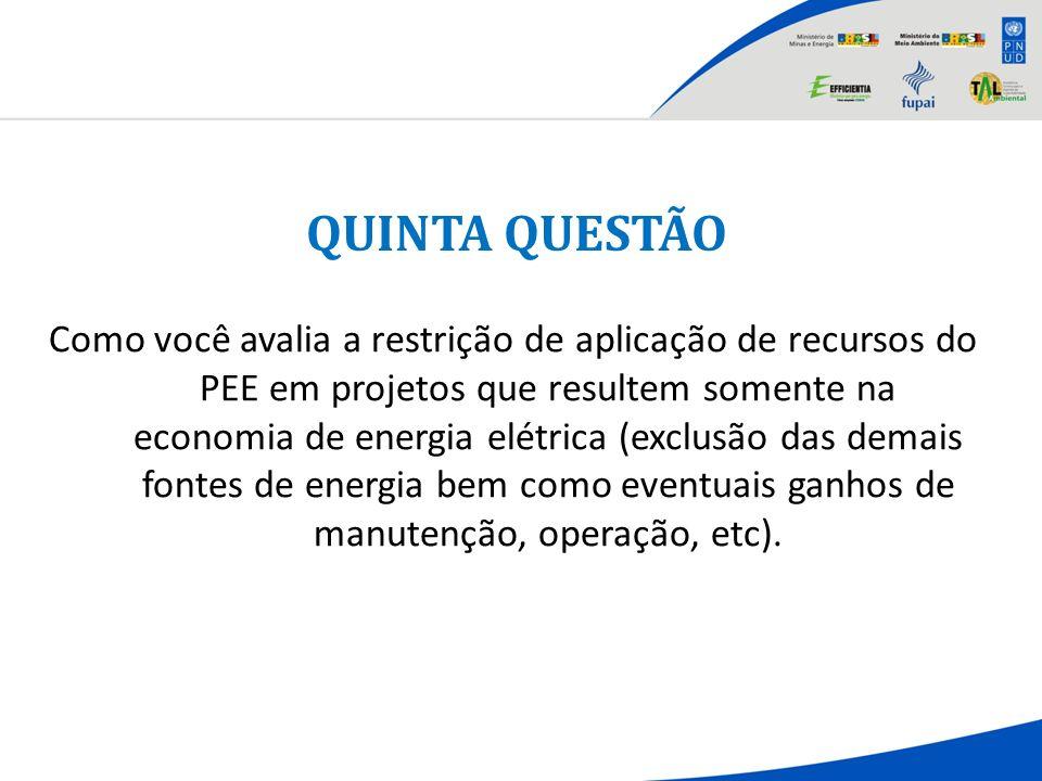 QUINTA QUESTÃO Como você avalia a restrição de aplicação de recursos do PEE em projetos que resultem somente na economia de energia elétrica (exclusão