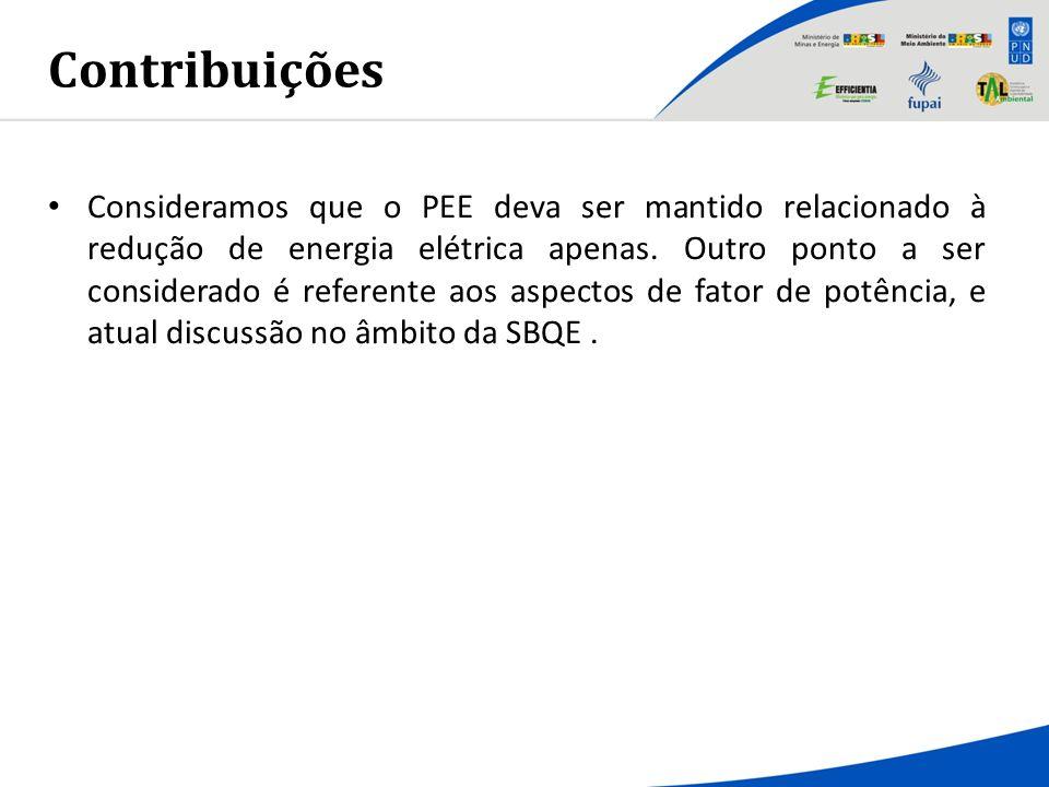 Contribuições Consideramos que o PEE deva ser mantido relacionado à redução de energia elétrica apenas. Outro ponto a ser considerado é referente aos