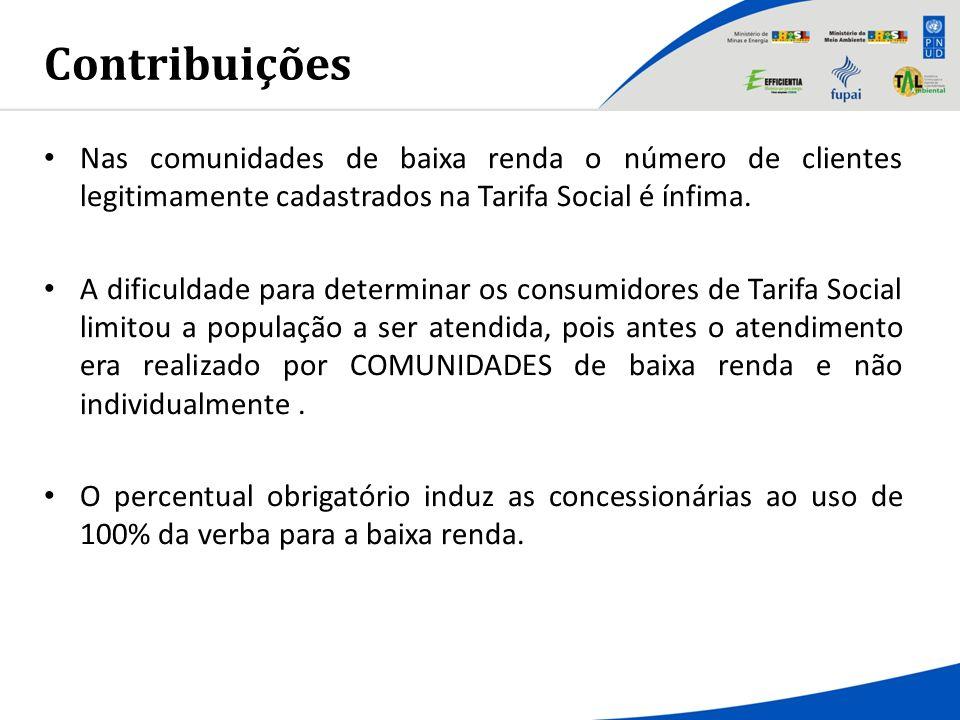 Contribuições Nas comunidades de baixa renda o número de clientes legitimamente cadastrados na Tarifa Social é ínfima. A dificuldade para determinar o