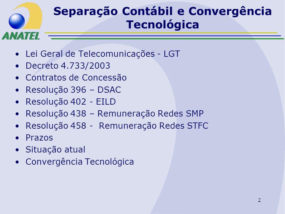 3 Separação Contábil e Convergência Tecnológica Lei Geral de Telecomunicações – LGT Art.86.
