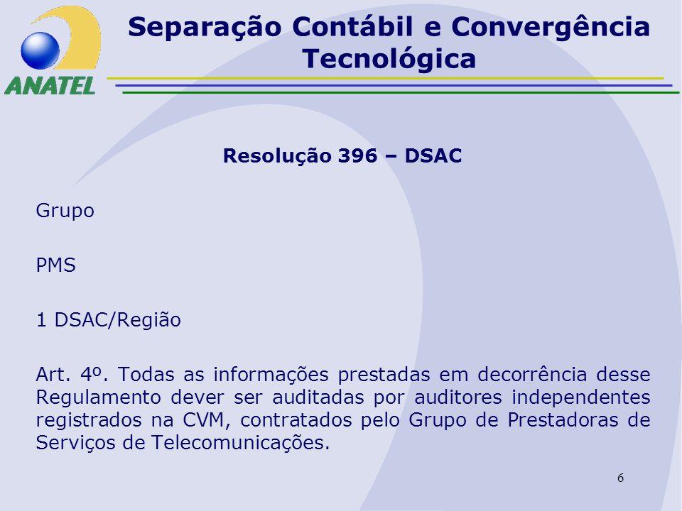 7 Separação Contábil e Convergência Tecnológica Resolução 396 – DSAC Anexo I: Base de custos históricos (FAC-HCA) Apêndice A:IDDF Apêndice B:PDDF (3 anos) Apêndice C: base de custos correntes Apêndice D: custos incrementais de longo prazo Anexo II: Base de custos correntes (CCA) Anexo III:Custos incrementais de longo prazo (LRIC)