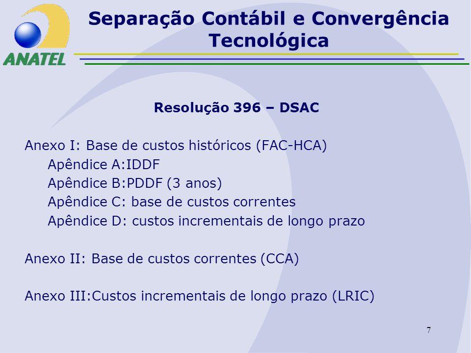 8 Separação Contábil e Convergência Tecnológica Prazos DSAC 30.04.2006: DSAC STFC (FAC-HCA) exercício 2005 30.04.2007: DSAC STFC (FAC-HCA) exercícios 2005/6 30.04.2008: DSAC STFC (FAC-CCA) exercícios 2006/7 30.04.2008: DSAC SMP (FAC-HCA) exercícios 2007 30.04.2009: DSAC STFC (LRIC ) exercício 2008 30.04.2009: DSAC SMP (FAC-HCA) exercícios 2007/8