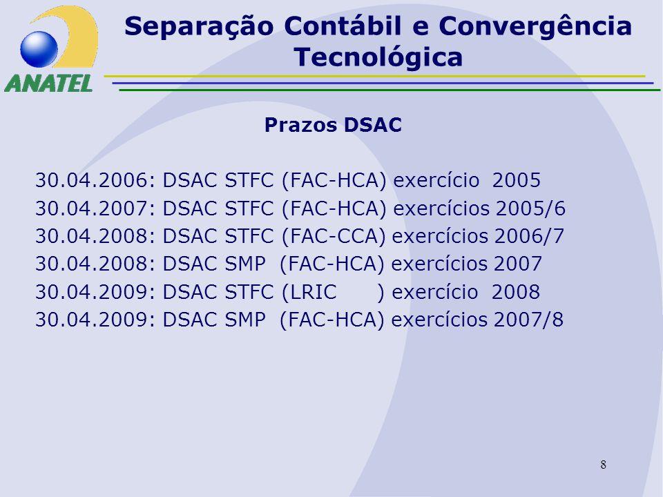 9 Separação Contábil e Convergência Tecnológica Situação atual DSAC Muitos dados a serem analisados Recursos humanos escassos e fragmentados Software de apoio ainda não adquirido Consultoria internacional ainda não contratada