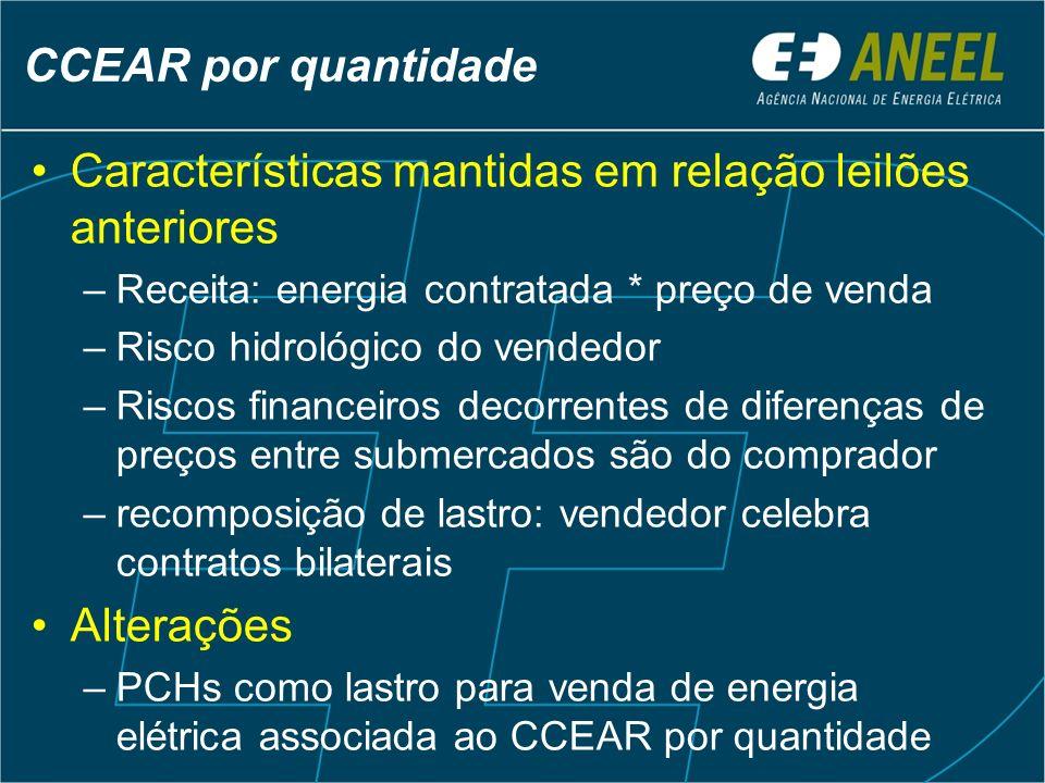 CCEAR por quantidade Características mantidas em relação leilões anteriores –Receita: energia contratada * preço de venda –Risco hidrológico do vended