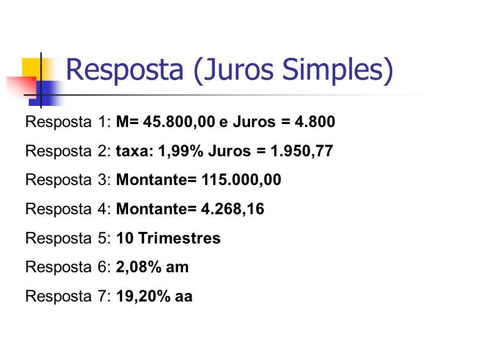 Resposta (Juros Simples) Resposta 1: M= 45.800,00 e Juros = 4.800 Resposta 2: taxa: 1,99% Juros = 1.950,77 Resposta 3: Montante= 115.000,00 Resposta 4