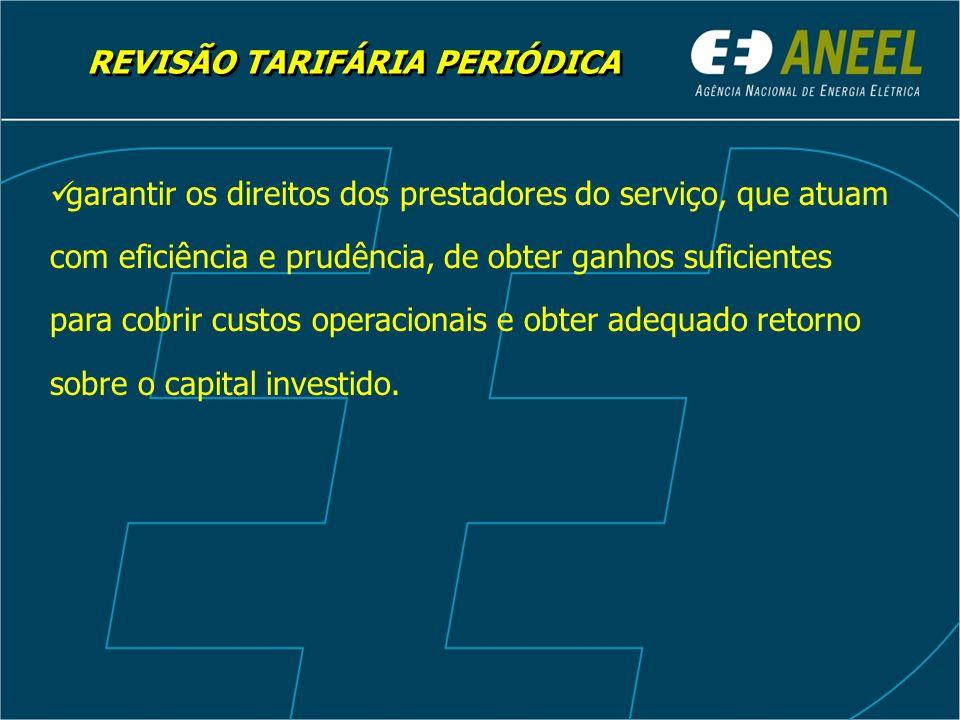 REVISÃO TARIFÁRIA PERIÓDICA garantir os direitos dos prestadores do serviço, que atuam com eficiência e prudência, de obter ganhos suficientes para cobrir custos operacionais e obter adequado retorno sobre o capital investido.