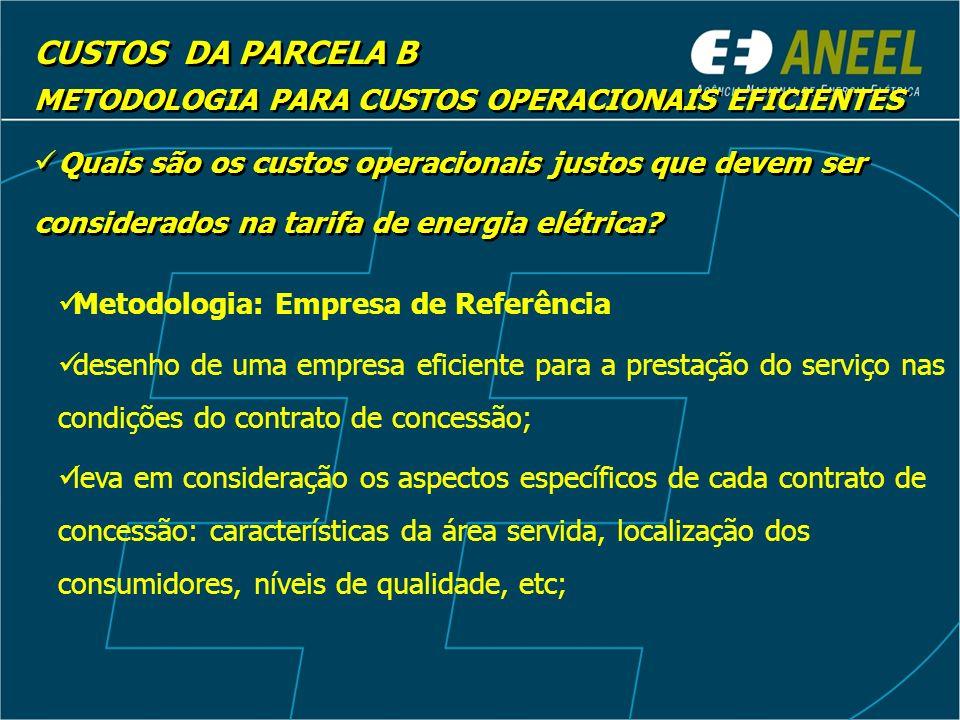 CUSTOS DA PARCELA B METODOLOGIA PARA CUSTOS OPERACIONAIS EFICIENTES Quais são os custos operacionais justos que devem ser considerados na tarifa de energia elétrica.
