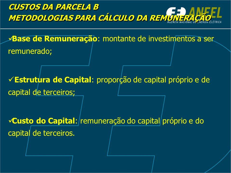 Base de Remuneração: montante de investimentos a ser remunerado; Estrutura de Capital: proporção de capital próprio e de capital de terceiros; Custo do Capital: remuneração do capital próprio e do capital de terceiros.