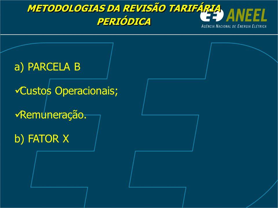 METODOLOGIAS DA REVISÃO TARIFÁRIA PERIÓDICA a) PARCELA B Custos Operacionais; Remuneração.