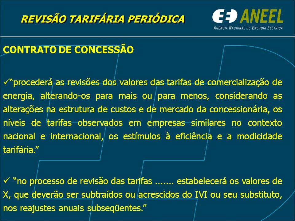 REVISÃO TARIFÁRIA PERIÓDICA CONTRATO DE CONCESSÃO procederá as revisões dos valores das tarifas de comercialização de energia, alterando-os para mais ou para menos, considerando as alterações na estrutura de custos e de mercado da concessionária, os níveis de tarifas observados em empresas similares no contexto nacional e internacional, os estímulos à eficiência e a modicidade tarifária.