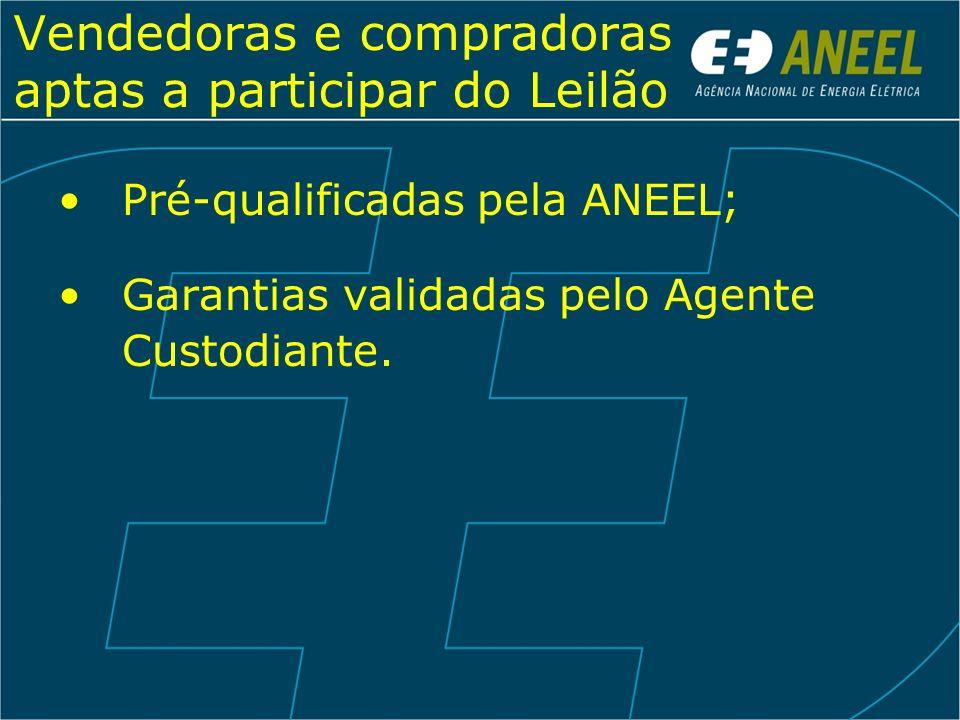 Vendedoras e compradoras aptas a participar do Leilão Pré-qualificadas pela ANEEL; Garantias validadas pelo Agente Custodiante.