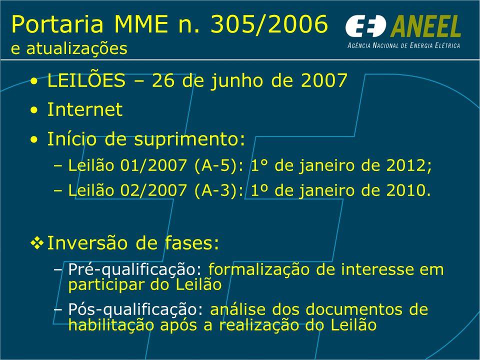 Portaria MME n. 305/2006 e atualizações LEILÕES – 26 de junho de 2007 Internet Início de suprimento: –Leilão 01/2007 (A-5): 1° de janeiro de 2012; –Le