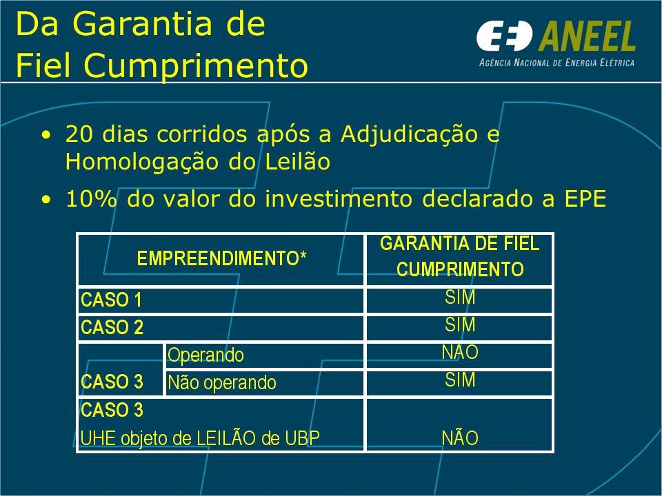 Da Garantia de Fiel Cumprimento 20 dias corridos após a Adjudicação e Homologação do Leilão 10% do valor do investimento declarado a EPE