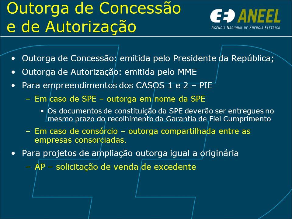 Outorga de Concessão e de Autorização Outorga de Concessão: emitida pelo Presidente da República; Outorga de Autorização: emitida pelo MME Para empree