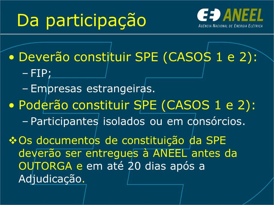 Da participação Deverão constituir SPE (CASOS 1 e 2): –FIP; –Empresas estrangeiras. Poderão constituir SPE (CASOS 1 e 2): –Participantes isolados ou e